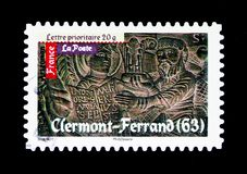 Roman's Art - Clermont-Ferrand, Antic Art serie, circa 2010. MOSCOW, RUSSIA - MARCH 18, 2018: A stamp printed in France shows Roman's Art - Clermont Stock Photography