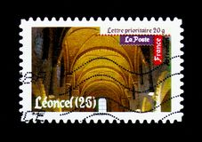 Roman\'s Art - Leoncel, Antic Art serie, circa 2010. MOSCOW, RUSSIA - MARCH 18, 2018: A stamp printed in France shows Roman\'s Art - Leoncel, Antic Art serie Stock Image