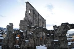 Roman's ruins in Aosta Royalty Free Stock Photos