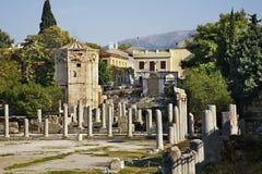 roman s sida acropolismarknadsplatsathens för tätt hadrian arkiv till sikten Grekland royaltyfri foto