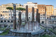 Roman sacred Area, Temple in Piazza Argentina Stock Images