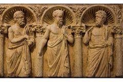 Roman sarcofaag bari Apulia of Puglia Italië royalty-vrije stock fotografie