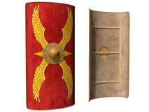 Roman Scutum Shield. Isolated illustration of a Roman shield viewed from the front and from behind Royalty Free Stock Photography