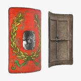 Roman Scutum Shield sur le blanc illustration 3D illustration stock