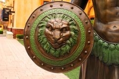 Roman Shield. A warior's shield with the Roman insignia - the lion' s head Stock Photos