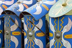 Roman shields in defence Stock Images