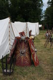 Roman shields. And tents in Germany Royalty Free Stock Photo