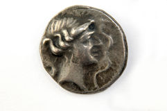 Roman silver coin, original, isolated. Roman silver coin, denario, isolated stock photos