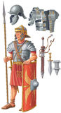 Roman soldier. In armor with weapons Stock Photos
