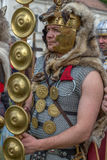 Roman soldier in battle costume Stock Photos
