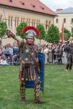 Roman soldier in battle costume Stock Photo
