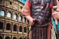 Roman Soldier Centurion and  colloseum in background Royalty Free Stock Photography