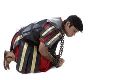 Roman Soldier in chains Stock Photos