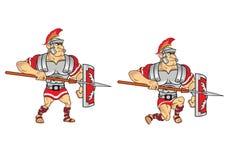 Roman Soldier Game Sprite vektor illustrationer