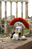 Roman soldier helmet in front of the Fori Imperiali, Rome, Italy Stock Photos