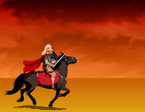 Roman Soldier On Horseback. Illustration of a centurion riding into battle with a stormy/fiery background royalty free illustration