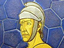 1900 roman soldier image on stone tiles painted. Face of a man. 1900 roman soldier image on stone tiles painted. Face of a royalty free stock photos