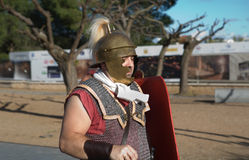 Roman soldier on parade Royalty Free Stock Photo
