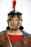 Roman Soldier. Portrait of Roman soldier isolated over white background royalty free stock image