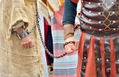 Roman soldier and prisoner. Roman soldier and  handcuff prisoner Royalty Free Stock Image