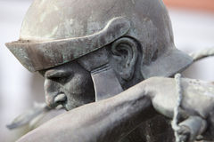 Roman Soldier Statue på en beskickning i San Diego Arkivfoton