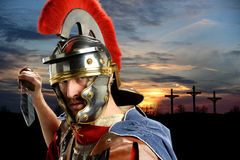 Roman Soldier With Sword Stock Photo