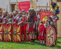 Roman soldiers in battle costume Royalty Free Stock Photography