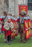 Roman soldiers in battle costume Royalty Free Stock Image