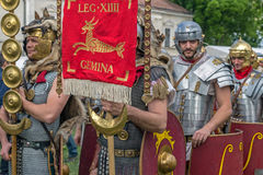Roman soldiers in battle costume Stock Images