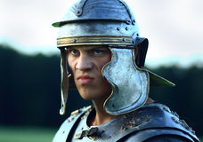 Roman soldiers. Close-up face. Royalty Free Stock Photography