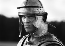 Roman soldiers. Close-up face. Royalty Free Stock Image
