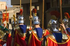 Roman Soldiers at Easter. Roman soldiers marching at Easter Royalty Free Stock Photos