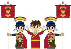 Roman Soldiers and Emperor. Cartoon vector illustration of Roman centurions with banners guarding the Emperor of Rome Royalty Free Stock Photography