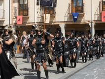 ROMAN SOLDIERS PARADING IN A HISTORICAL RECREATION. ROMANS SOLDIERS PARADING IN A HISTORICAL RECREATION IN ONE OF THE ACTS OF THE ANNUAL FESTIVAL OF ASTURES AND royalty free stock photography