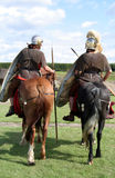 Roman Soldiers Riding. Two Roman Soldiers if full fughting armour stock photography