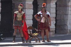 Roman soldiers in Verona Stock Image