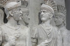 Roman soldiers in white marble Stock Image