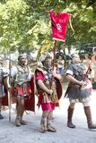 Roman spectacle with gladiators and legionaries Royalty Free Stock Images