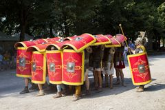 Roman spectacle with gladiators and legionaries Royalty Free Stock Image