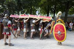 Roman spectacle with gladiators and legionaries Royalty Free Stock Photos