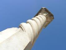 Roman spiral column from a ruin. In Carthage, Tunisia royalty free stock photo