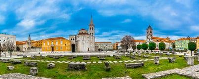 Roman square panorama in Zadar city, Croatia. Panorama of old roman square in city center of town Zadar, famous Dalmatia region in Croatia, travel places royalty free stock photo