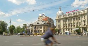 Roman Square (Piata Romana) i Bucharest stock video