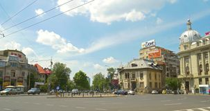 Roman Square (Piata Romana) i Bucharest stock video