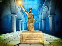 Roman statatue of senator. Roman statue of senator in court Royalty Free Stock Photo