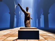 Roman statatue of senator. Roman statue of senator in court Royalty Free Stock Images
