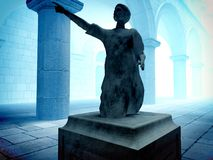 Roman statatue of senator. Roman statue of senator in court Royalty Free Stock Photography