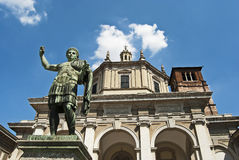 Roman statue. Constantine the Great statue in front of saint lawrence church in milan Stock Photos