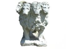 Roman Statue of Cerberus. Weathered ancient statue probably depicting Cerberus, the 'hellhound' dog with several heads (in this case four royalty free stock images