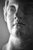 Roman statue. Detail on the face of an ancient Roman statue royalty free stock image